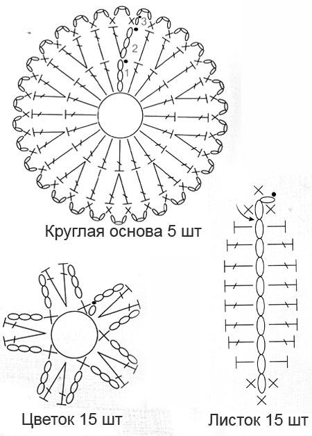 схема вязания украшения крючком