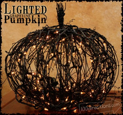 Lighted Black Grapevine Pumpkin