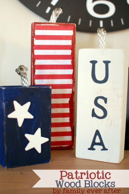 Patriotic USA Wood Block Decorations