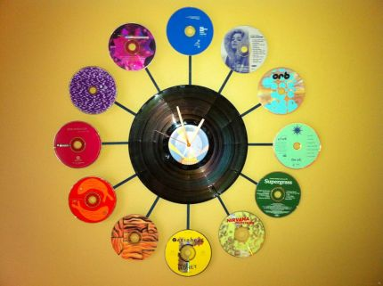 Recycled CD and Vinyl Album Clock