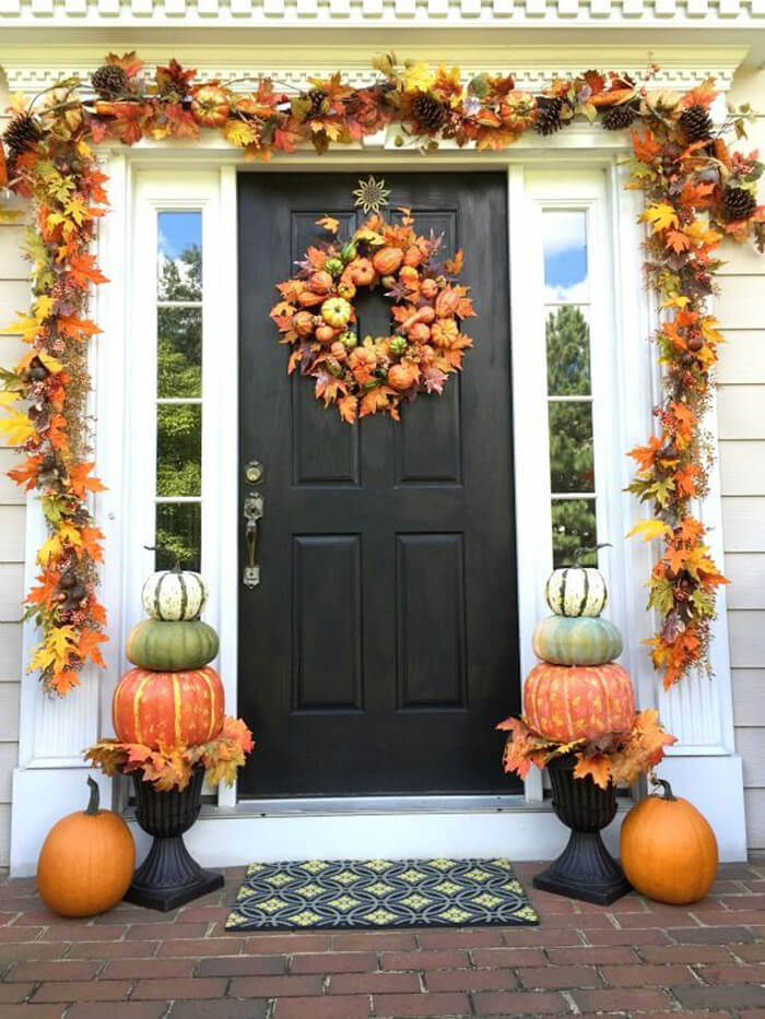 S Pumpkins And Leaves Garland Wreath