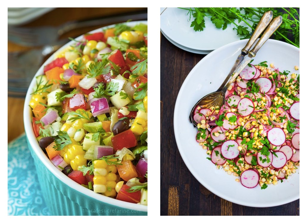 via: http://thecafesucrefarine.com/2014/05/mexican-chopped-salad/ ; http://www.feastingathome.com/grilled-flank-steak-with-corn-radish-salad/