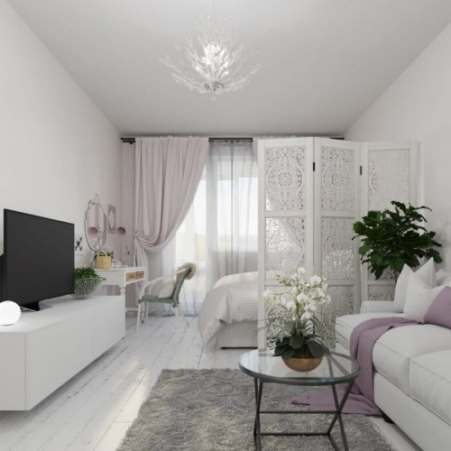 Robust Lilac Interior Design Living Room Airy Pastel 2 Light Sleeping Place Bed Lattice Screen Divider Ikea Fing Sofa Glass Table Orchid Drapery Curtains Tv Console Neo Classical Style