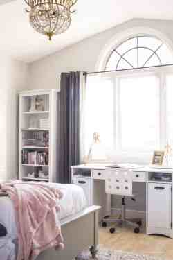 Indoor Pink Grey Blush Room Pink G Bedroom Makeover Reveal Girls Bedroom Makeover Girls Bathroom Makeover