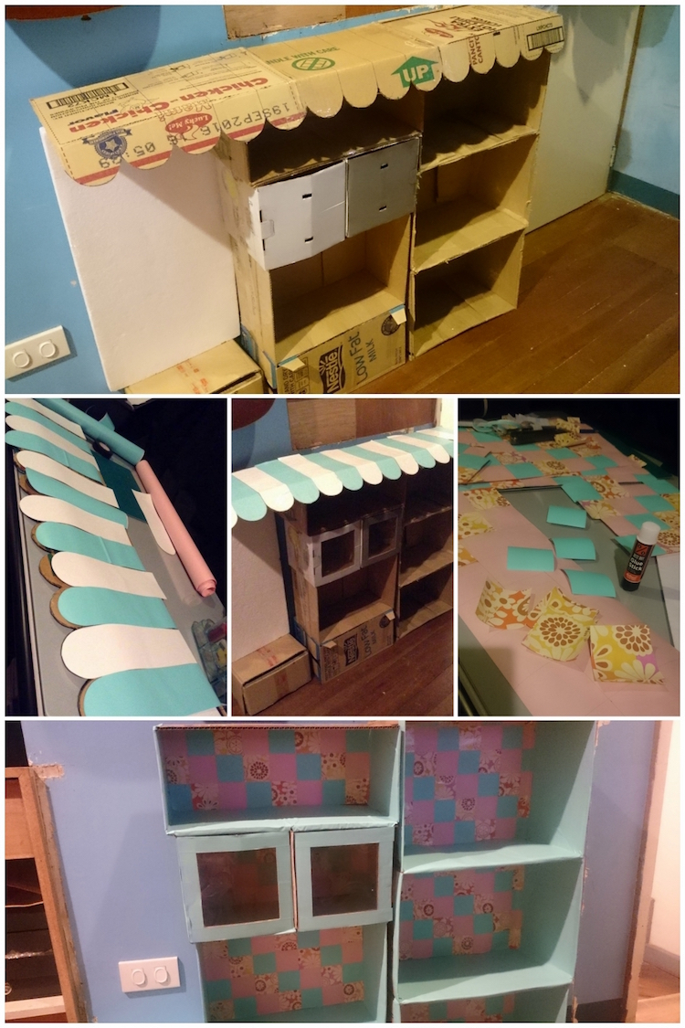 DIY Cardboard Kitchen Cafe Pantry Playset09