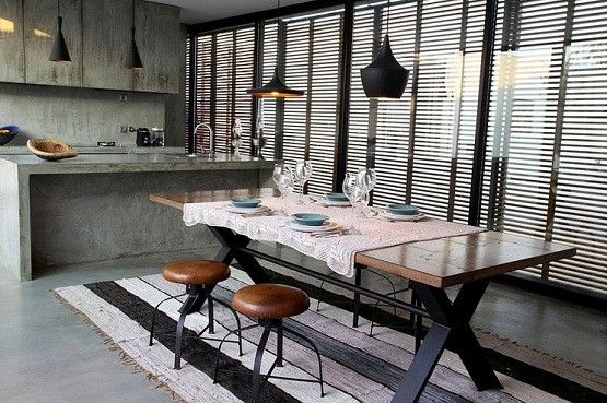 modern industrial dining room lighting design with antique table
