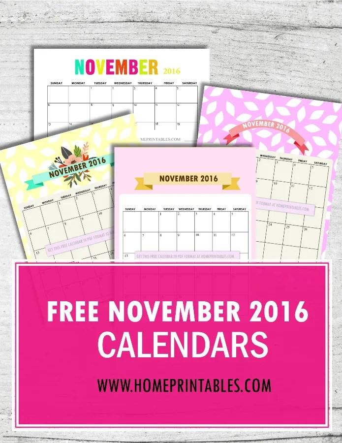 Free Printable November 2016 Calendar: 8 Designs!