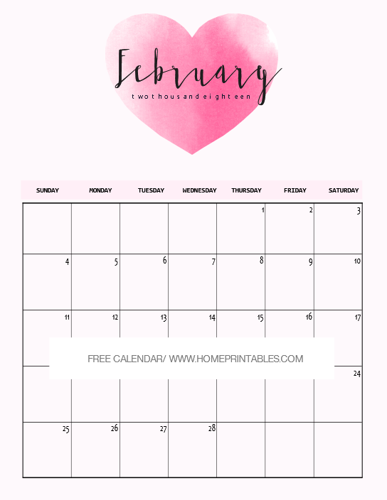February 2018 Calendar Printable: 10 Free Choices! - Home Printables