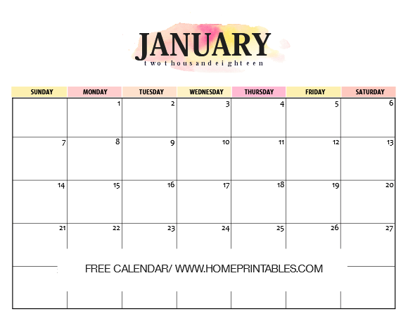 Calendar January 2018: 10 FREE Amazing Prints! - Home Printables