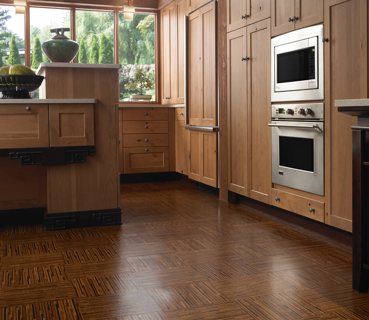 stunning wooden laminate flooring options for kitchens with wooden cabinets system and large windows