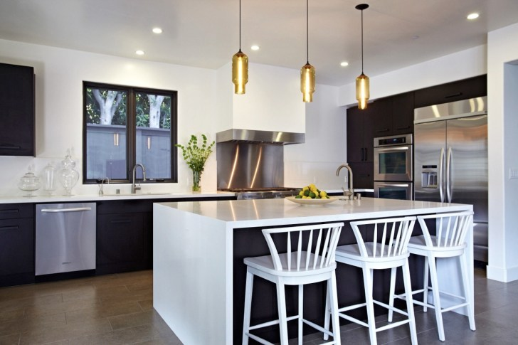 inspiring kitchen ideas with white wood bar stools decorated in the kitchen island plus golden pendant lamp and modern kitchen cabinet and stainless kitchen appliance