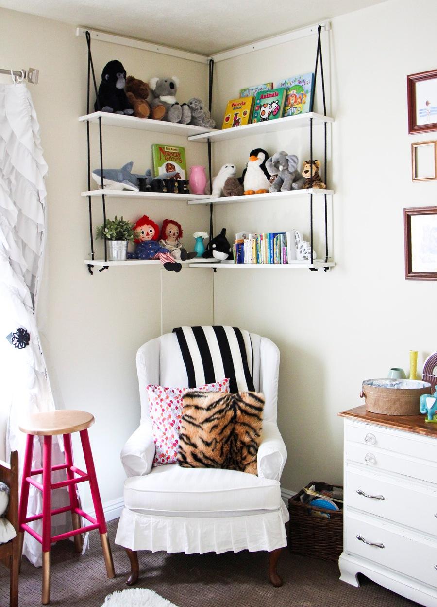 Examplary Hanging Bookshelves Red Table Wooden Dresser Hanging Bookshelf Black Throw Slipcovered Chair Interior Design interior White Hanging Book Shelf