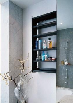 Splendent Bathroom Wall Shelving Idea To Adorn Your Room Homesfeed Recessed Style Black Bathroom Wall Shelves Design Bathroomwith Concrete Rustic Siding
