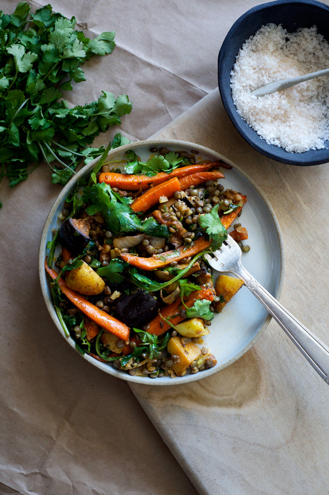 Spicy Roasted Carrot and Eggplant Salad with Puy Lentils and Preserved Lemon | Vegan, grain free, gluten free.