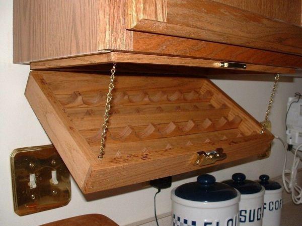 Creative Kitchen Storage Idea Under Cabinet Spice Rack