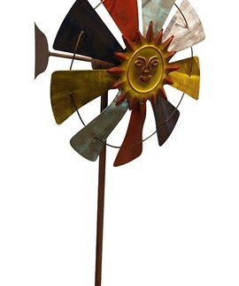 Pinwheel Wind Spinner Outdoor Iron Garden Stake