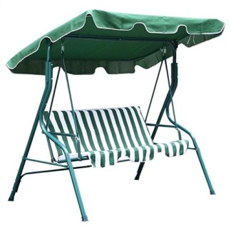 3 Person Patio Canopy Swing Green and White