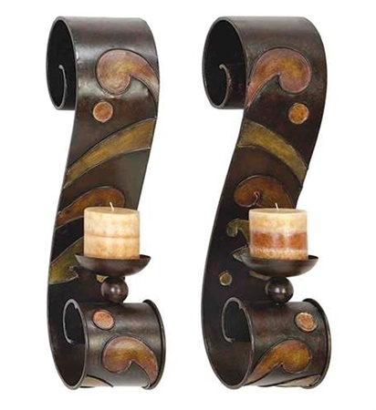 Sconce Candle Holder Metal Wall Decor 2 Piece Set