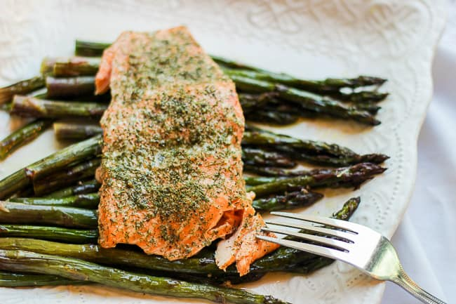 Roasted Lemon and Dill Salmon with Purple Asparagus