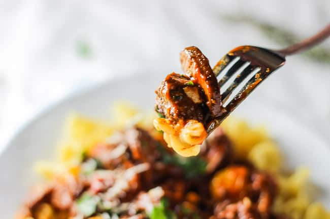 Braised Beef with Caramelized Onions and Mushrooms