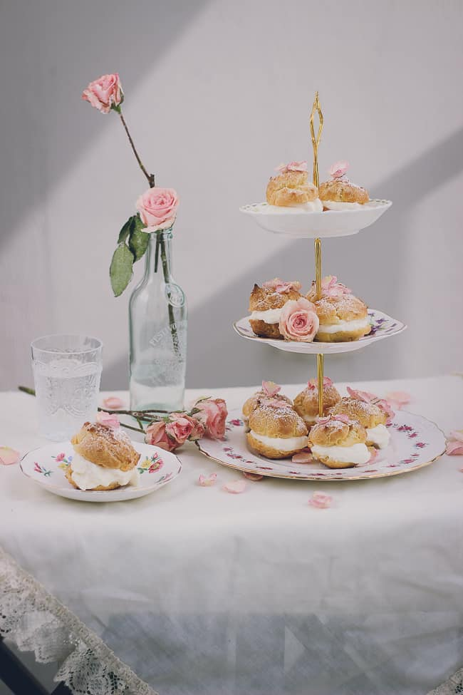 Rosewater Cream Puffs with Sugared Rose Petals-42