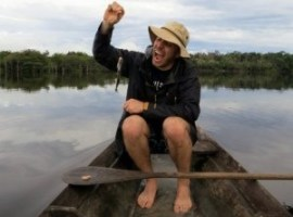 Mike Howard catching a piranha with a hand line in the amazon.