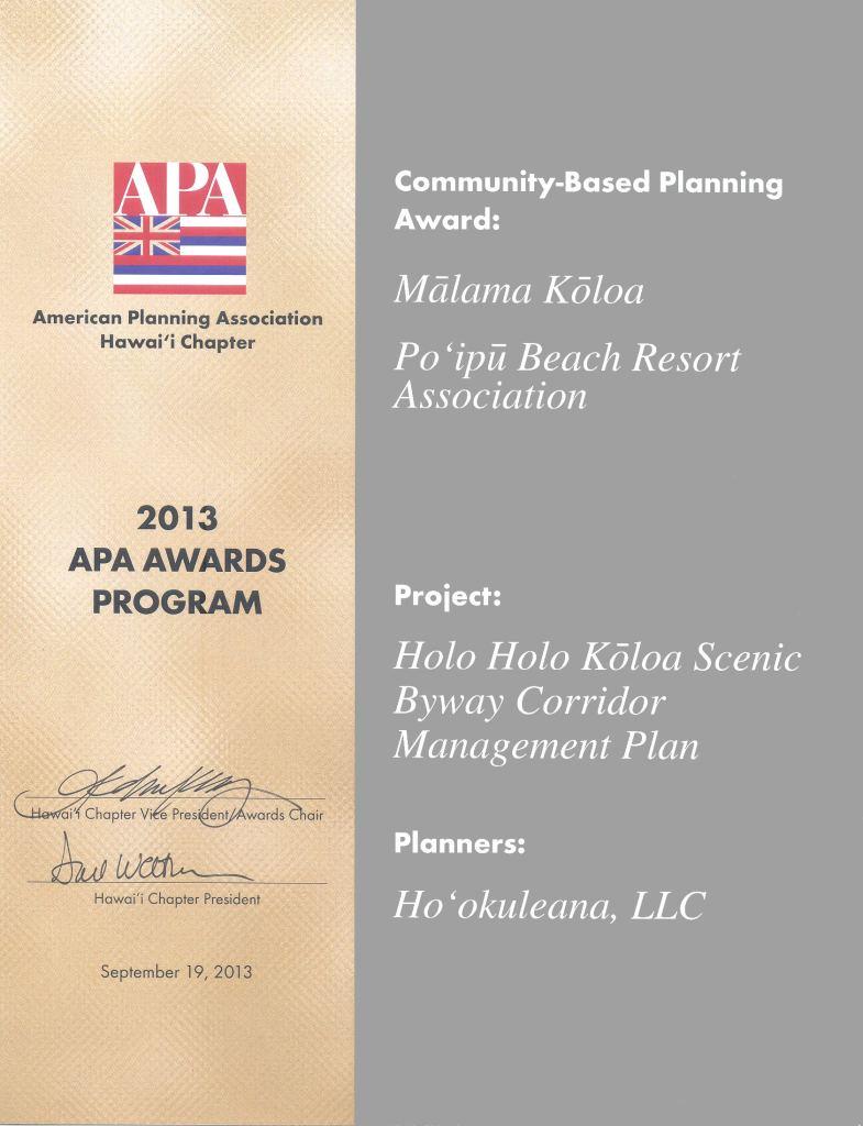 Holo Holo Koloa Scenic Byway-Community-Based Planning Award 2013