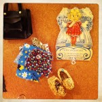 tiny shoes, vintage fabrics, old valentine
