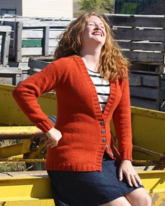 I am swatching for this cardigan to use with some handyed yarn.