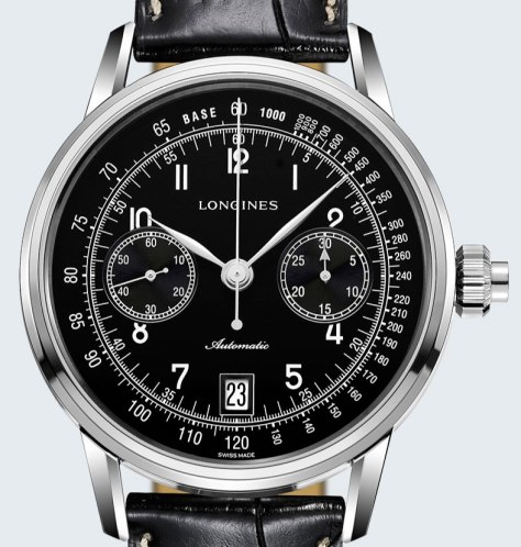 Longines Column-Wheel Single Push-Piece Chronograph detalle esfera