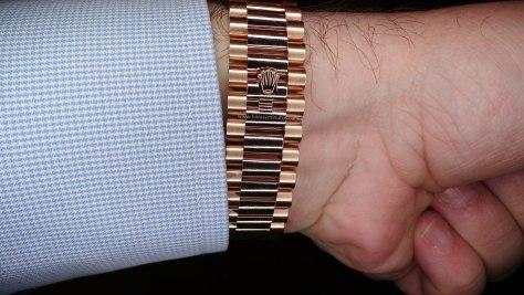 Rolex Oyster Perpetual Day Date oro everose brazalete president hebilla Horas y Minutos