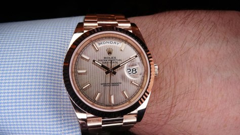 Rolex Oyster Perpetual Day Date oro everose esfera lineas Horas y Minutos