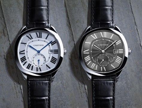 SIHH-2016-Novedades-Cartier-Drive-automatico-acero-esfera-blanca-y-esfera-gris-Horas-y-Minutos