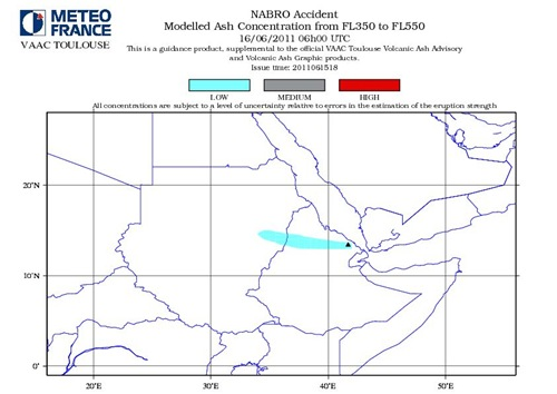 Nabro Volcano Modelled Ash Consentration FL350 to FL550 June 16-2011_06GMT