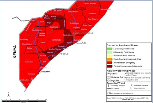 Somalia famine map - current July 2011 FEWS-NET USAID