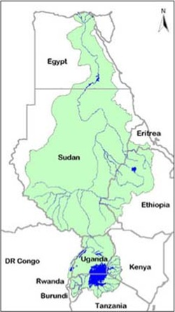 Nile water basin countries political map