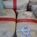 These bags of Solvay brand sodium fluoride sit on a pallet inside Durango's water treatment plant.