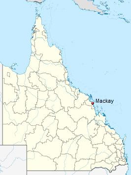 Map showing location of Mackay in Queensland.