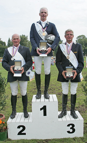 Individual medallists at the FEI European Jumping Championships for Veterans 2012 at Dinard, France - (left to right) - silver medallist Danny Stappaerts (BEL), gold medallist Jean-Jacques Lorquet (BEL) and Bulgaria's Gunter Orschel who claimed bronze.
