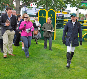 """Eric Lamaze gives a guided course tour on opening day of the Spruce Meadows """"Masters"""" tournament in Calgary, Alberta."""