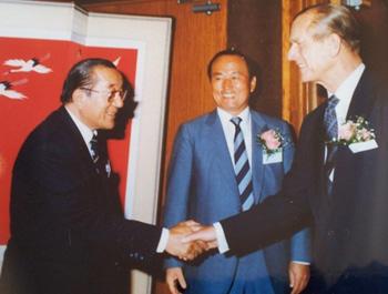 General Johnson Kim, left, with FEI President HRH Prince Philip in 1986 in Korea.