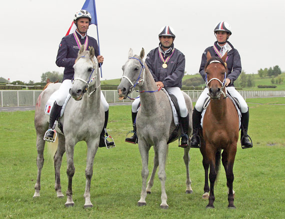 The French team of Jean Philippe riding Qrafik La Majorie, Tomas Philippe riding Quotien Persky and Theolissat Melody riding Azelle de Jalima won the European Championship title.