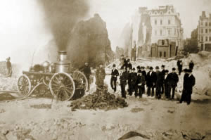 A Boston fire wagon without its horses.