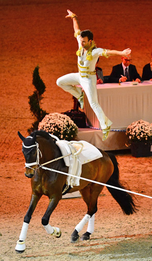 Lukas Klouda (CZE) on Danny Boy, lunged by his coach and former World and European champion Patric Looser, secured the male individual competition at the opening qualifier of the FEI World Cup Vaulting 2013/2014 series in Munich.