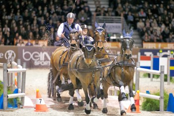 Boyd Exell on the way to winning his fifth FEI World Cup Driving Final title.