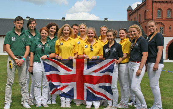 Team GB at the IYB championships in Sweden. L-R green shirts team SHBGB Josh Rees (junior individual), Claire Nicklin, Kirsty Millard, Rosie Bown; BHHS yellow shirts Stena Hoerner, Jack Cross, Emma Wolley, Emma Crompton, Felicity Aldridge-Newman and Emma Cunnington; WBS UK Blue shirts; Rebecca White, Shelley Ellis (junior individual), Samantha Brown and Camille Best.