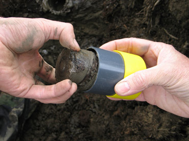 A permafrost core sample. Photo:  Eske Willerslev