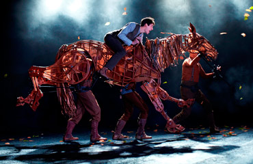 Albert in full flight on Joey in the National Theatre's stage production of War Horse. Photo: National Theatre