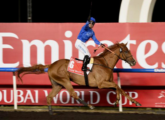 African Story blazes to the front to win the Dubai World Cup on Saturday.