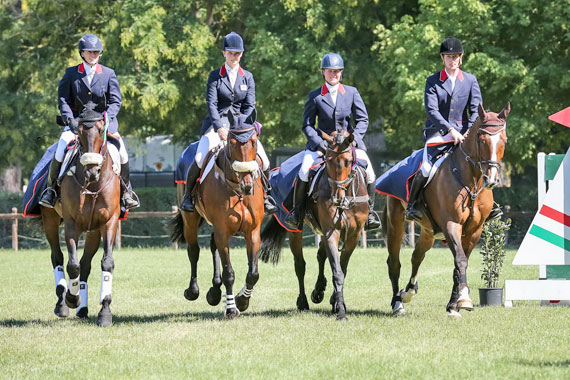 From left, Great Britain's Nicky Roncoroni, Dani Evans, Emilie Chandler and Paul Sims, winners at the Montelibretti (Italy) leg of last year's FEI Nations Cup Eventing. Great Britain finished the season a single point ahead of Germany.